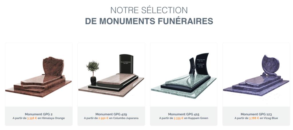 Sélection de monuments funéraires