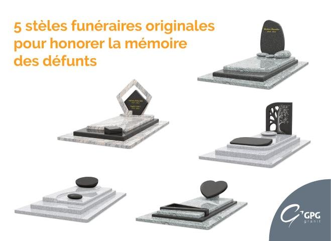 Illustration •5 stèles funéraires originales pour honorer la mémoire des défunts