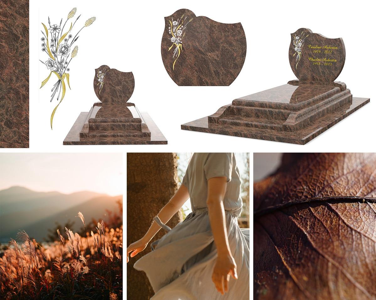 Les détails du monument funéraire champêtre