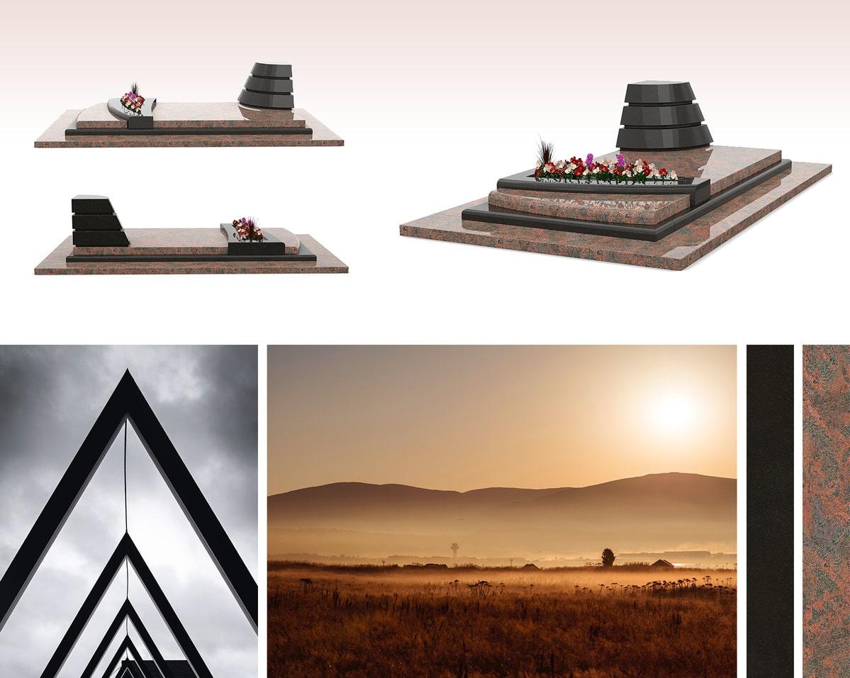 Une sépulture moderne avec ses éléments pyramidaux
