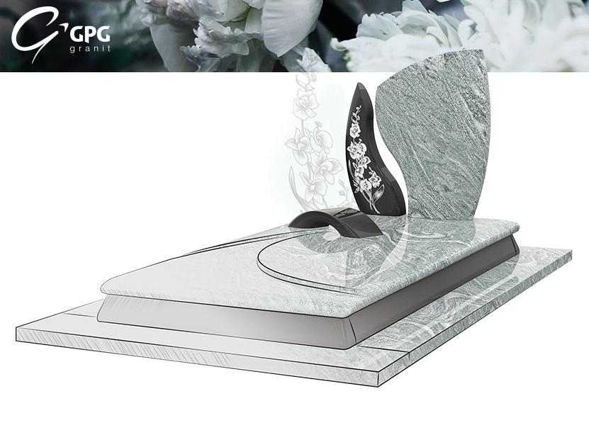 Illustration •Zoom sur un monument funéraire tout en ondulations : le GPG 290/N Stèle R90