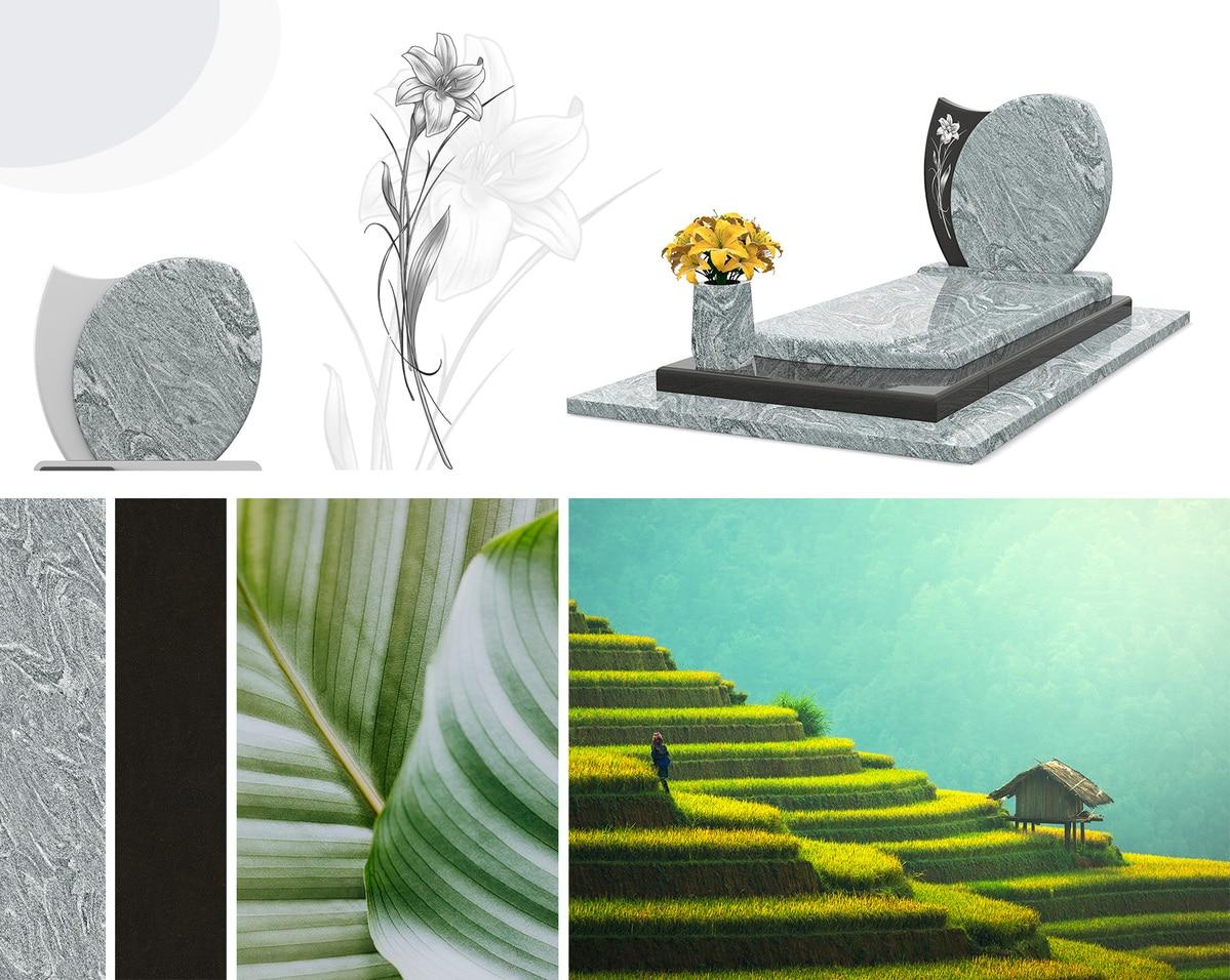 Une sépulture moderne, où la nature est très présente
