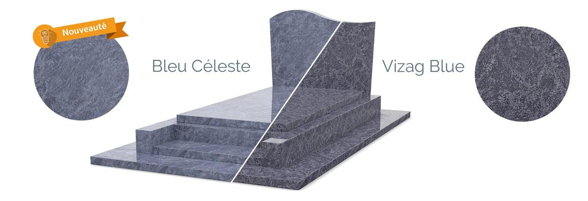Comparaison granit Vizag Blue et Céleste Bleu