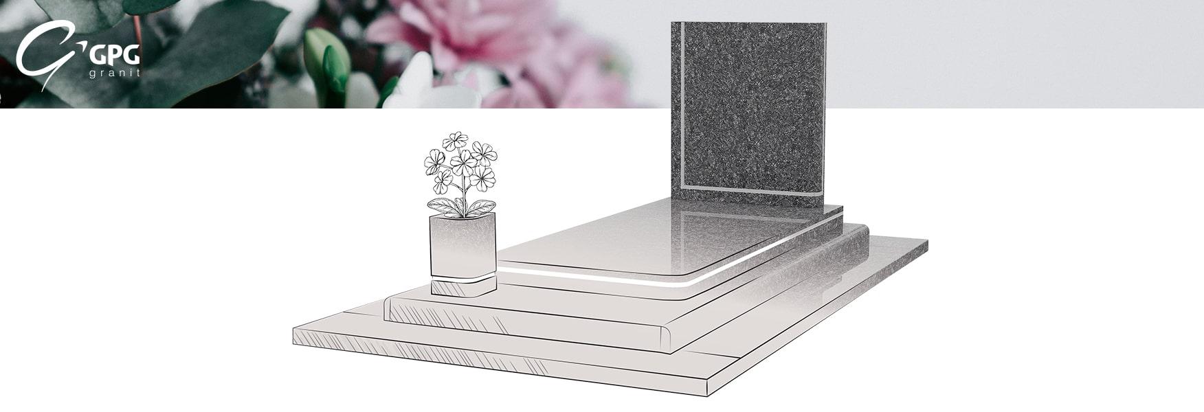 Monument funéraire GPG 279/5 en granit Steel Grey