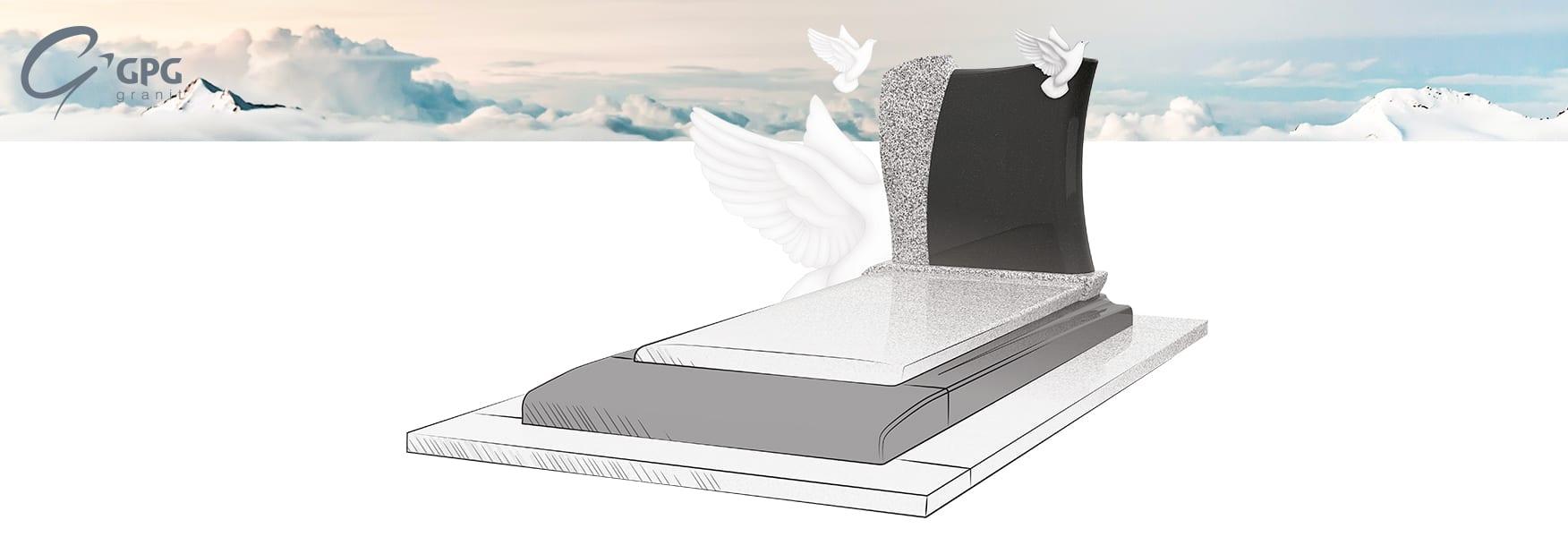 Un monument funéraire contemporain, avec une stèle en forme de livre