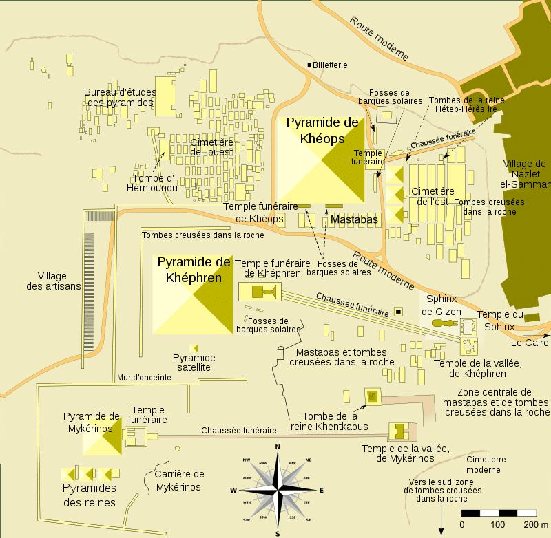 Le plan de la nécropole de Gizeh en Egypte