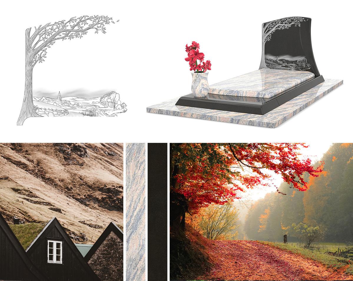 Un monument funéraire personnalisable, avec un aspect de campagne