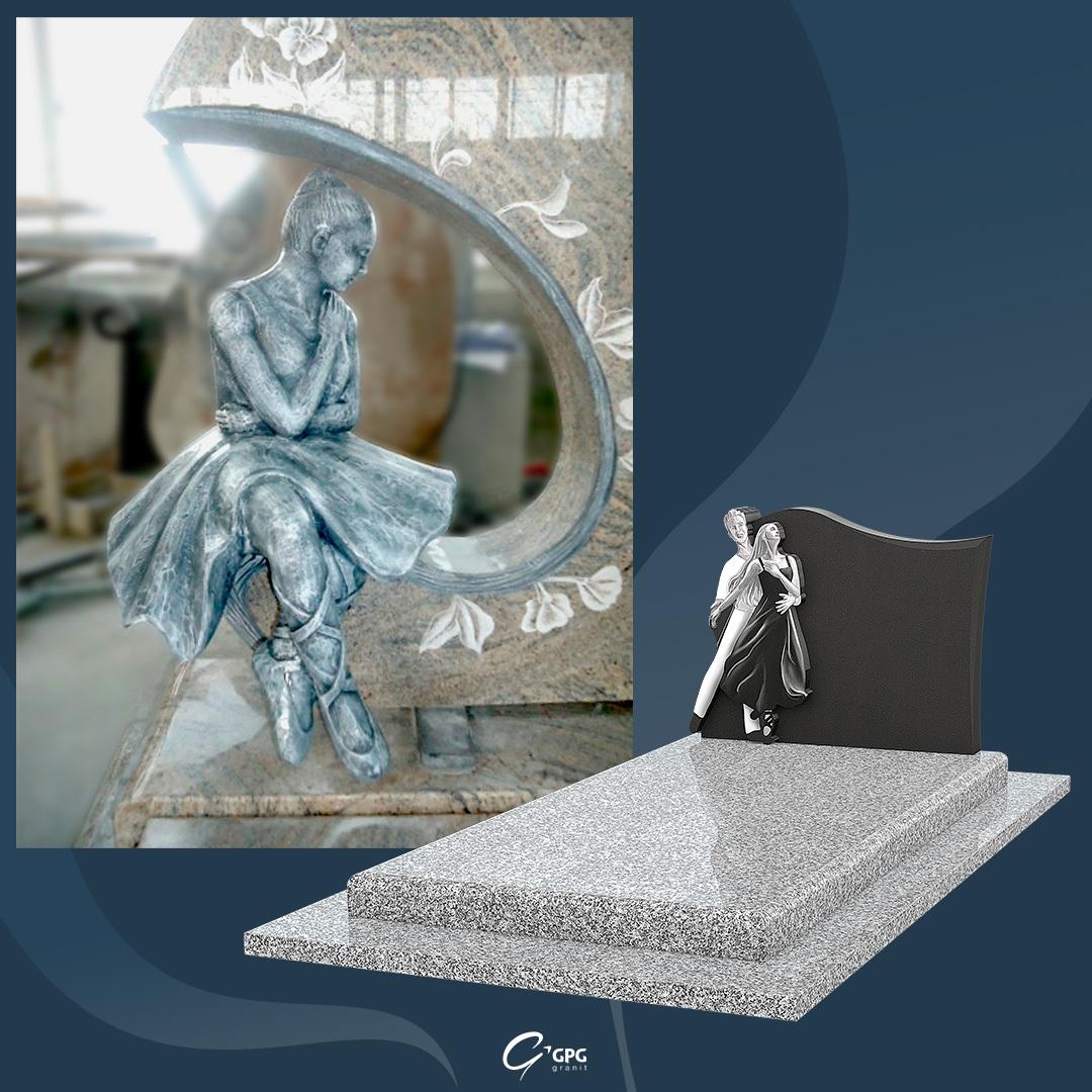 Statuette en granit, monument funéraire et danse