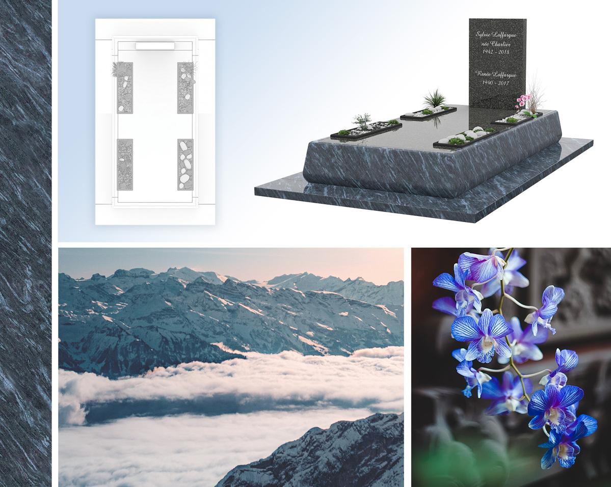 Une sépulture tournée vers la modernité, avec des fleurs et la nature