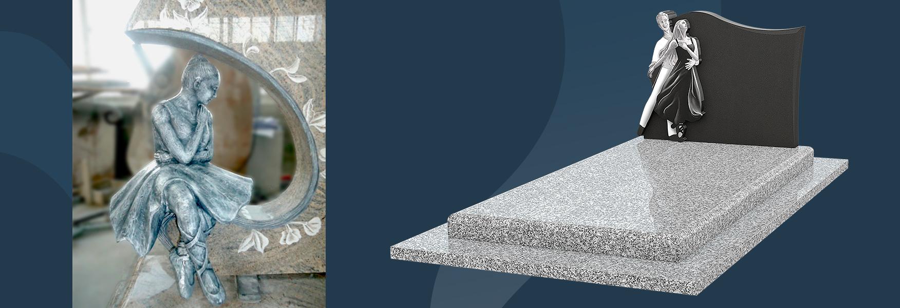 Monument funéraire danse et stèle en granit
