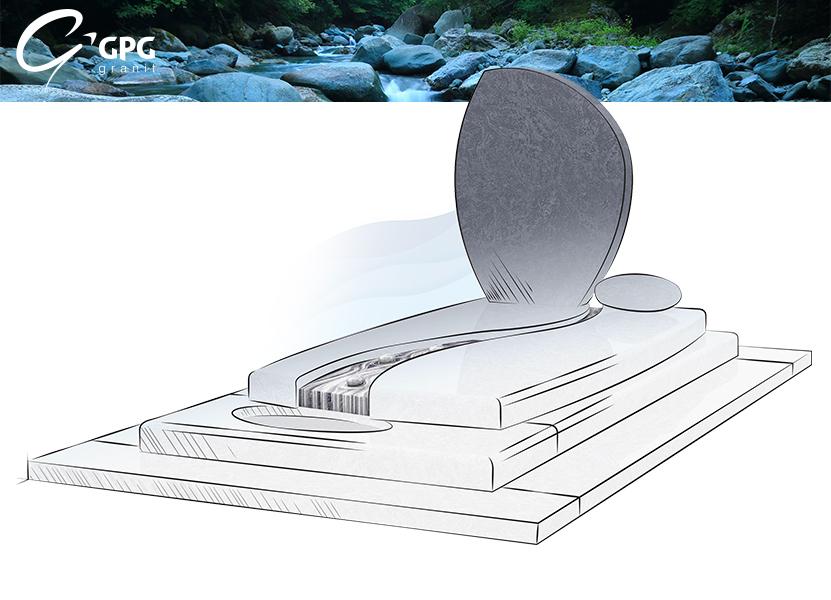 Illustration •Focus sur le monument GPG 250 en granit Vizag Blue