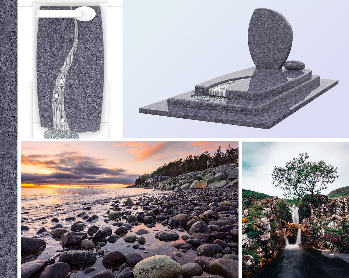 Sépulture contemporaine en granit avec des roches et la nature