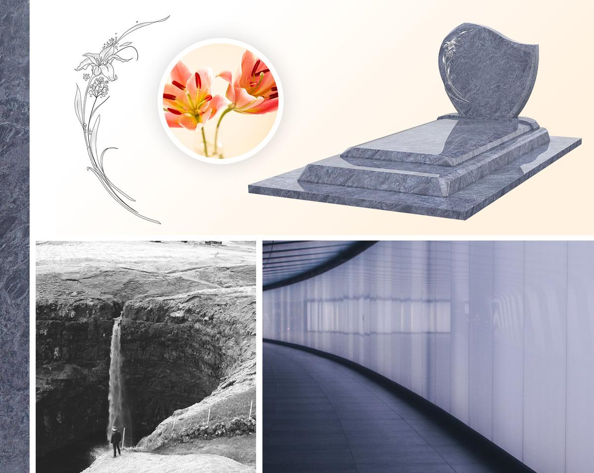 Monument funéraire, fleurs et nature