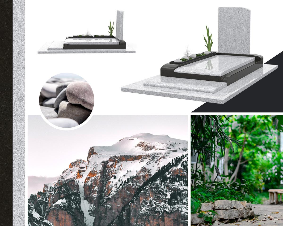 La nature avec ce monument funéraire en granit moderne