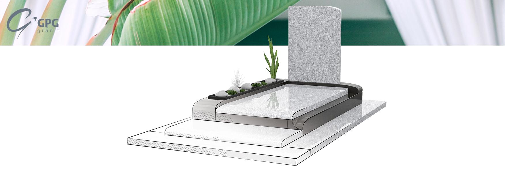 Monument funéraire contemporain avec verdure