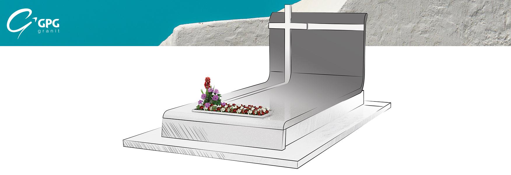 Sépulture en granit, moderne, avec ses fleurs